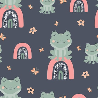 Seamless vector pattern with green frogs on a multicolored rainbow creative animal texture