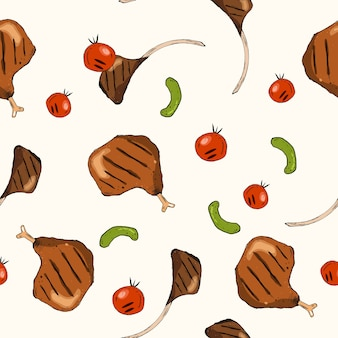 Seamless vector pattern with grilled chicken