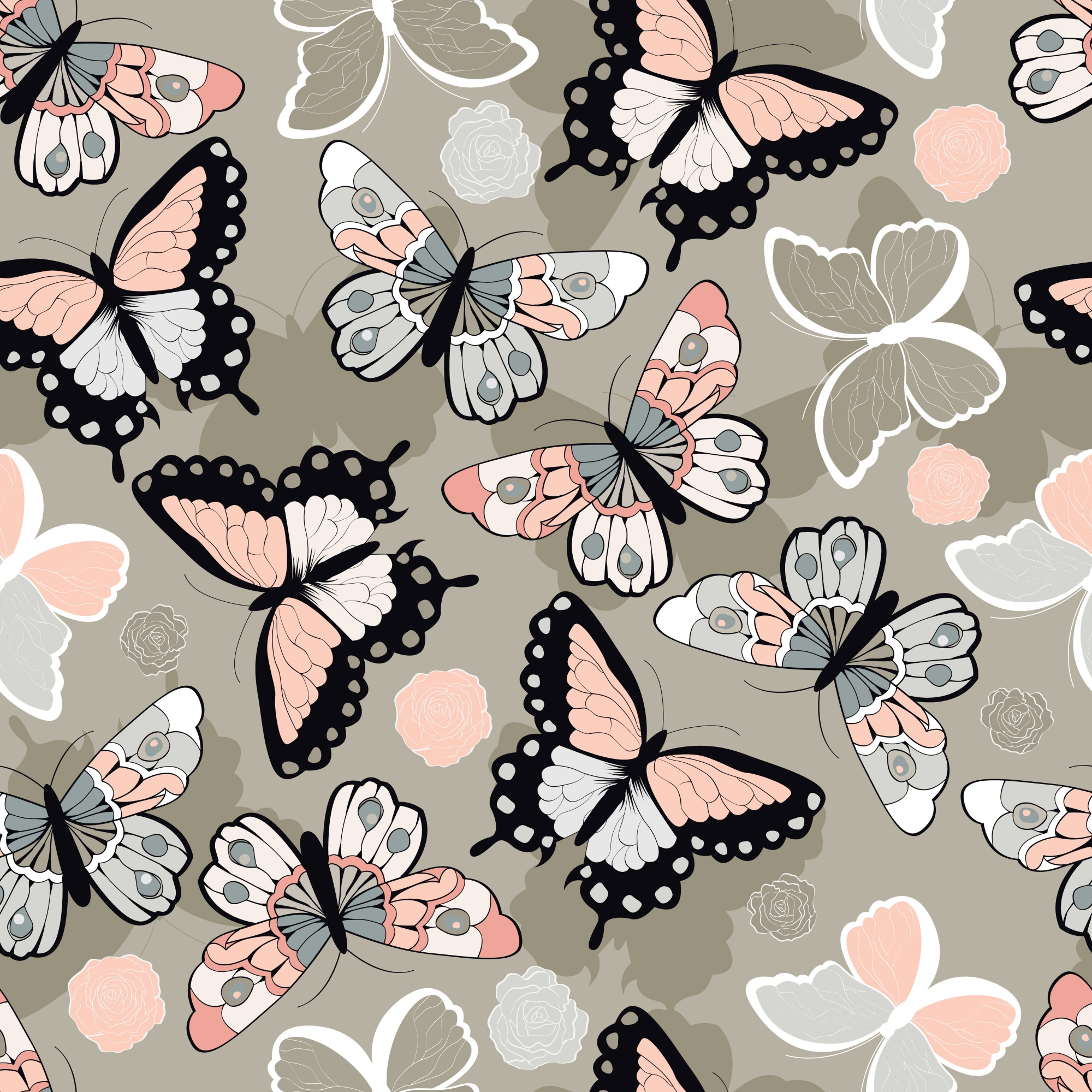 Seamless vector pattern with hand drawn colorful butterflies