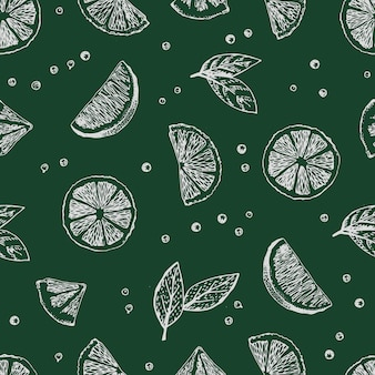 Seamless vector pattern with hand drawn limes.