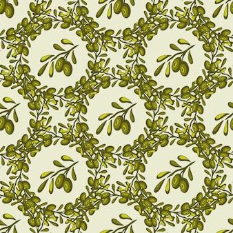Бесшовные векторные шаблон с ручной обращается оливковых ветви. оливковый фон