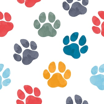 Seamless vector pattern with hand drawn water colour animal footprints