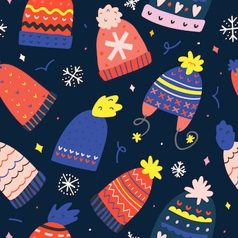 Seamless vector pattern with knit hats