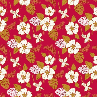 Seamless vector pattern with large white flowers and tropical leaves on red background