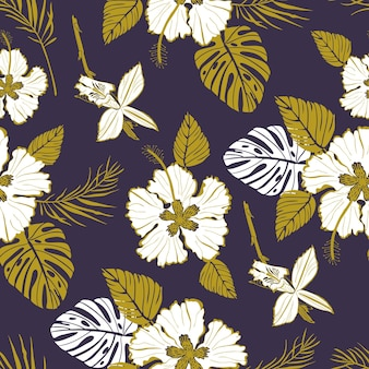Seamless vector pattern with large white flowers and tropical leaves