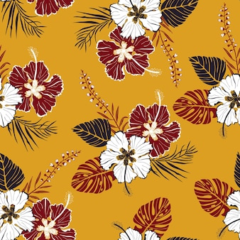 Seamless vector pattern with large white and red flowers with tropical leaves in hawaiian style