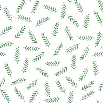 Seamless vector pattern with leaves and branch.