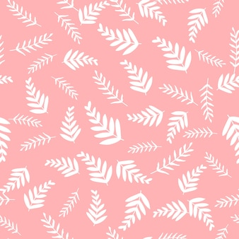 Seamless vector pattern with leaves and branch