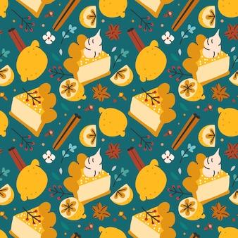 Seamless vector pattern with lemon cake