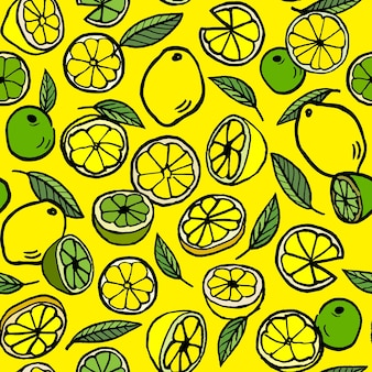 Seamless vector pattern with lemon and lime.