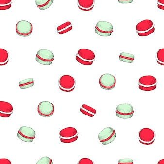 Seamless vector pattern with macaroon cookies