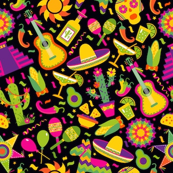 Seamless vector pattern with mexican elements - guitar, sombrero, tequila, taco, skull on black.