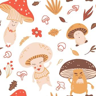 버섯과 식물과 원활한 벡터 패턴입니다.