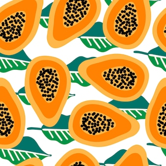Seamless vector pattern with papaya on leaves backgorund. modern concept