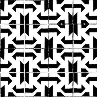黒と白の正方形のタイルの鉛筆スタイルのシームレスなベクトルパターン。
