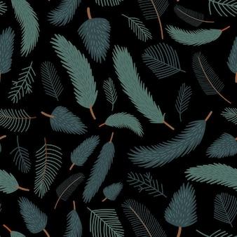 Бесшовные векторные шаблон с сосновыми ветками на черном фоне