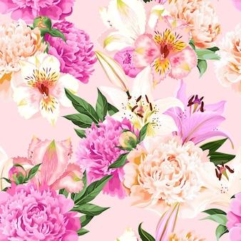 분홍색 배경에 분홍색과 흰색 꽃과 원활한 벡터 패턴