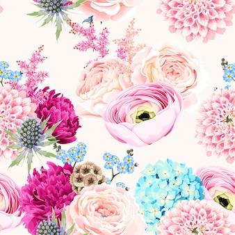 흰색 바탕에 분홍색과 흰색 꽃과 원활한 벡터 패턴