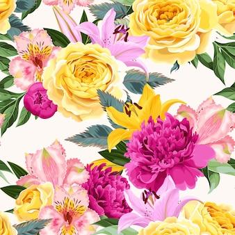 흰색 바탕에 분홍색과 노란색 꽃과 원활한 벡터 패턴