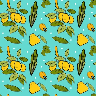 Seamless vector pattern with plants, plum, pear, leaves and ladybird. cute garden background