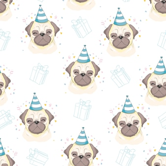 Seamless vector pattern with pugs.