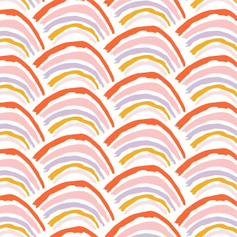 Seamless vector pattern with rainbows for fabric textile wallpaper