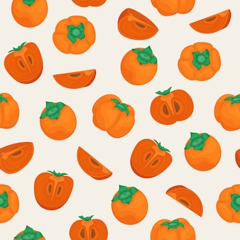 熟した柿とのシームレスなベクトルパターン。柿全体と小片。