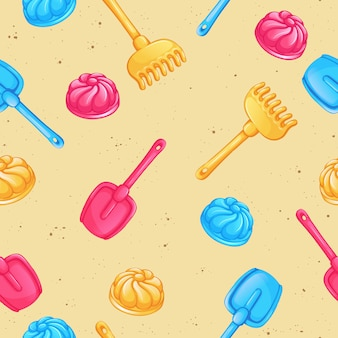 Seamless vector pattern with sand toys.
