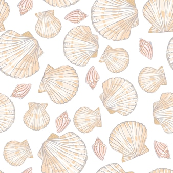 Seamless vector pattern with seashells and starfish