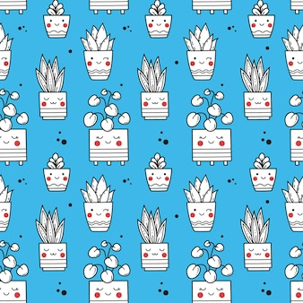 Seamless vector pattern with silhouettes of cute plants in pots on blue background