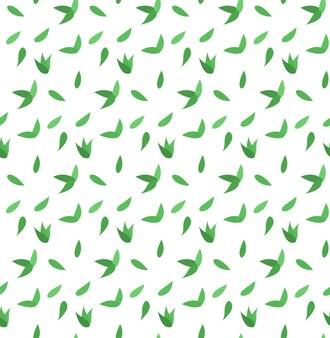 小さな緑の葉とシームレスなベクトルパターン