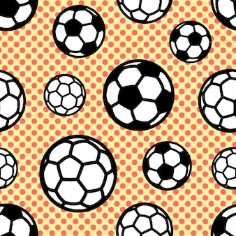 円で背景にサッカーボールとのシームレスなベクトルパターン。