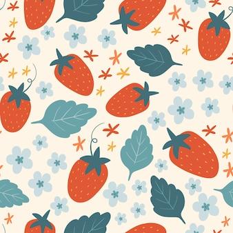 ベージュの背景にイチゴの花とシームレスなベクトルパターン夏のパターン