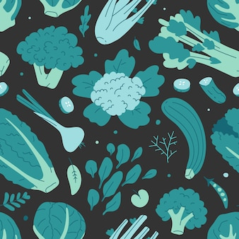 Seamless vector pattern with various green vegetables