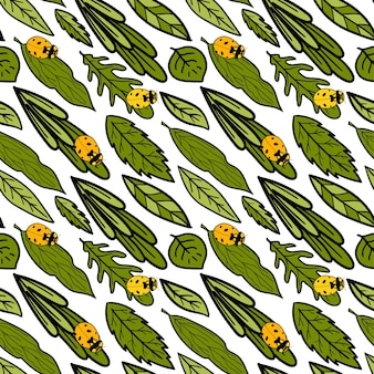 Seamless vector pattern with various leaves and ladybird green floral background