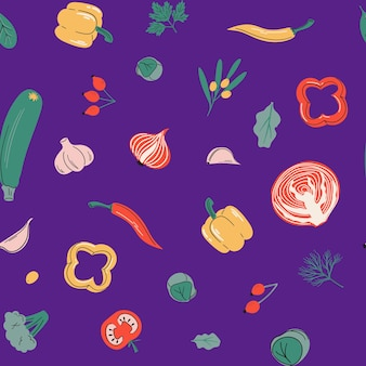 비타민 c 소스와 함께 매끄러운 벡터 패턴 건강 식품 야채와 딸기 컬렉션