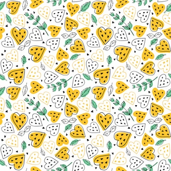 Seamless vector pattern with watermelons hearts and mint.