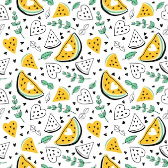 Seamless vector pattern with watermelons and mint.