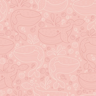 Seamless vector pattern with whales and bubbles funny contour cartoon animals