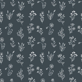 Бесшовные векторные шаблон с полевыми цветами. полиграфический дизайн с рисованной каракули цветы в черно-белом.