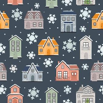 겨울 집과 눈송이 원활한 벡터 패턴입니다. 직물, 의류, 휴일, 포장지, 장식용 겨울 패턴입니다.