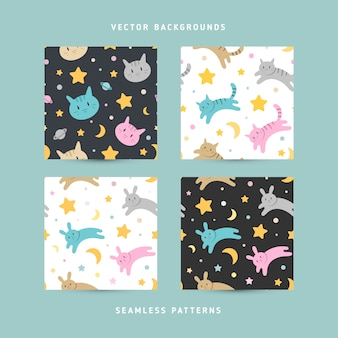 Seamless vector patterns with cute cats and rabbits