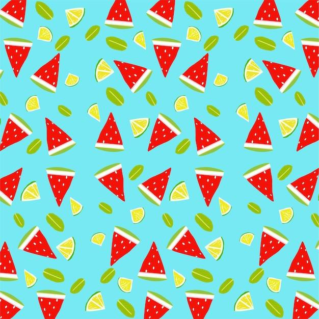 수박과 레몬 조각으로 원활한 벡터 여름 패턴