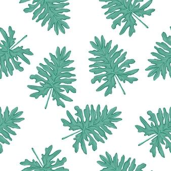 白い背景の上のモンステラの葉とシームレスなベクトル熱帯パターン