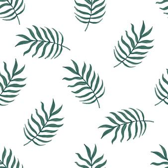 白い背景の上のヤシの葉とシームレスなベクトル熱帯パターン