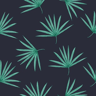 Seamless vector tropical pattern with palm leaves on white background