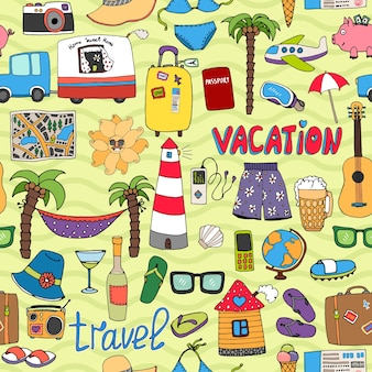 Seamless vector tropical vacation and travel pattern with colorful icons depicting swimsuits lighthouse  hammock  palms  sunglasses  caravan  map  beer  wine  piggy bank  clothing