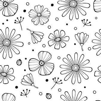 白い背景の上の黒い花のビクトリア朝の花束とのシームレスなベクトルヴィンテージパターン。ガーデンローズ、チューリップ、デルフィニウム、ペチュニア。モノクロ。