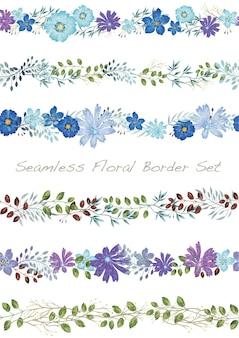 Бесшовные векторные акварель цветочные границы набор на белом