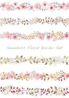 白に設定されたシームレスなベクトル水彩花ボーダー